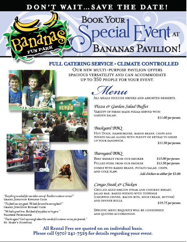 Events Pavilion | Group Events | Bananas Fun Park | Grand Junction